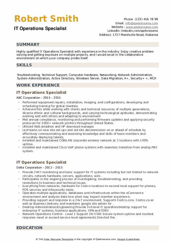 IT Operations Specialist Resume example