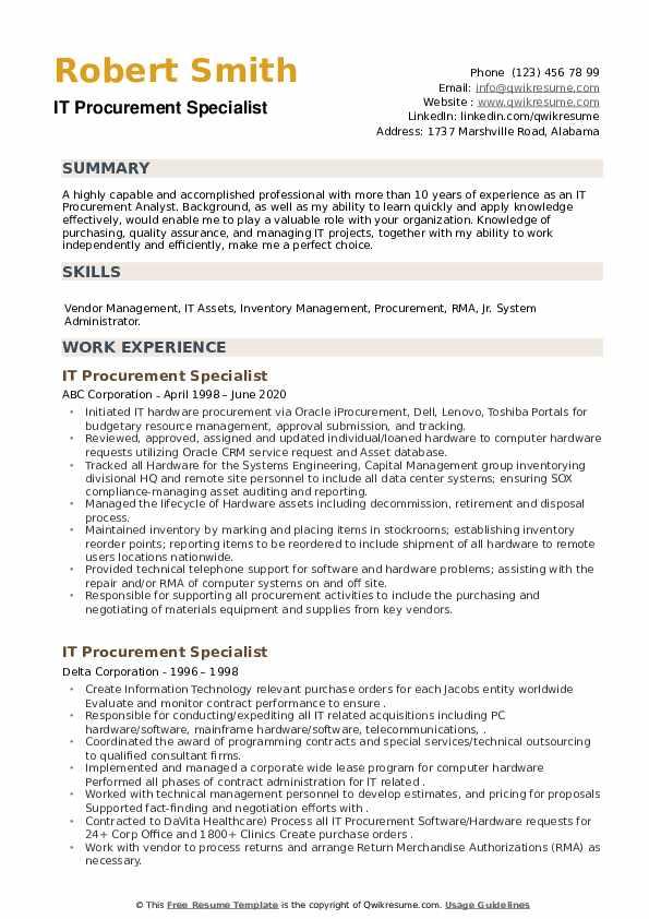 IT Procurement Specialist Resume example