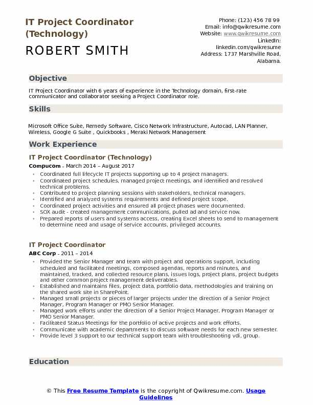 IT Project Coordinator (Technology) Resume Model