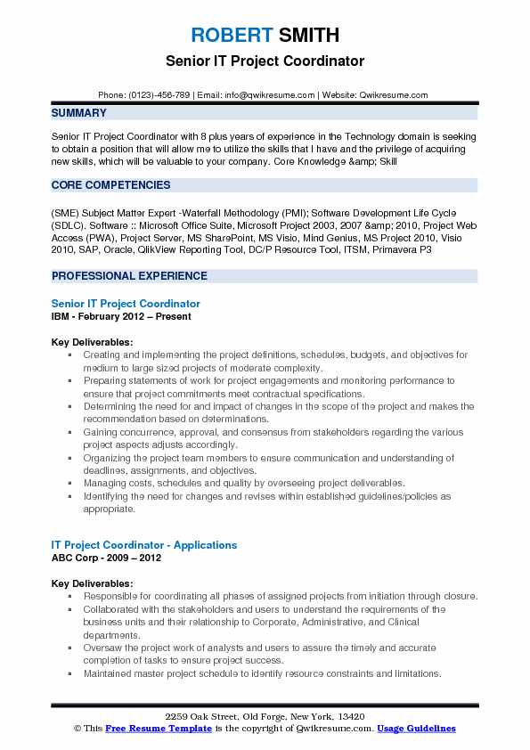 Senior IT Project Coordinator Resume Format