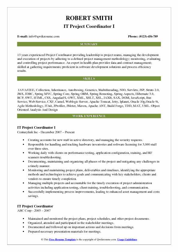 IT Project Coordinator I Resume Example
