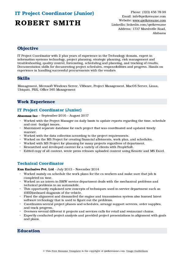 IT Project Coordinator (Junior) Resume Format