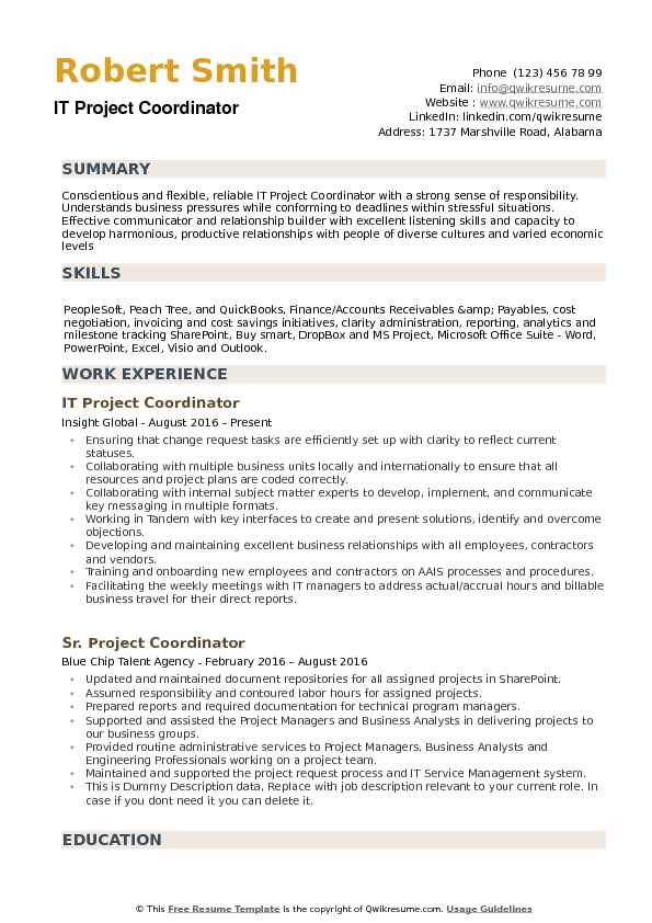 it project coordinator resume samples