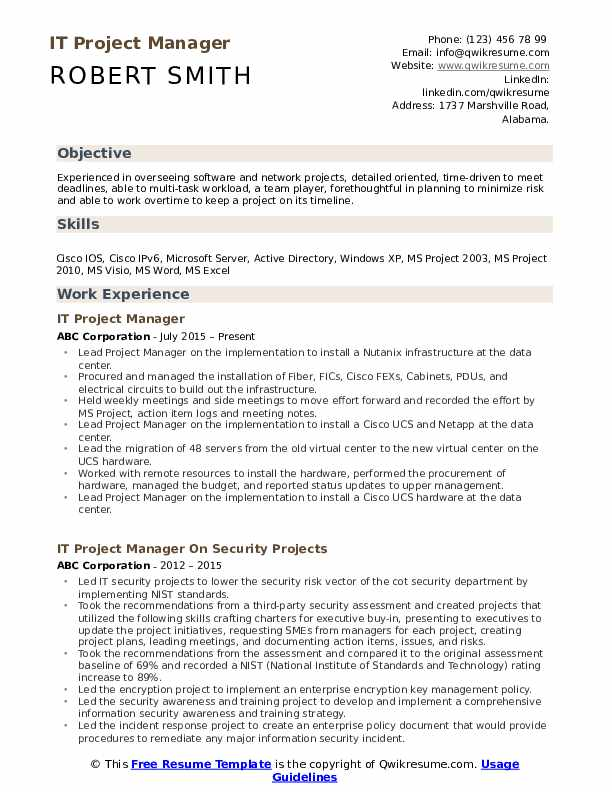 It Project Manager Resume Samples Qwikresume