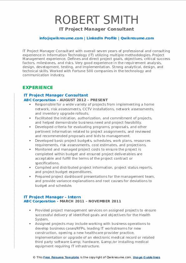 IT Project Manager Consultant Resume Model
