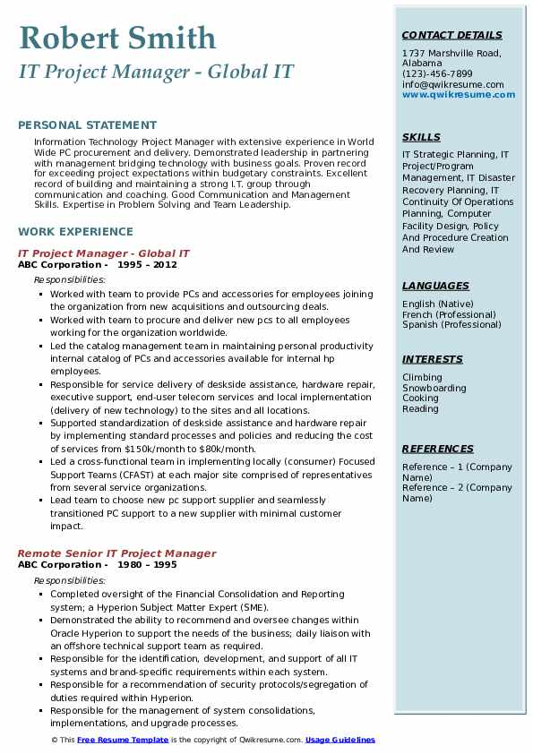IT Project Manager - Global IT Resume Template