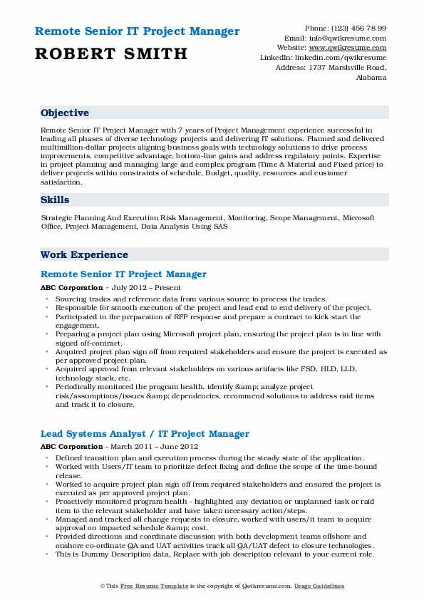 Remote Senior IT Project Manager Resume Format