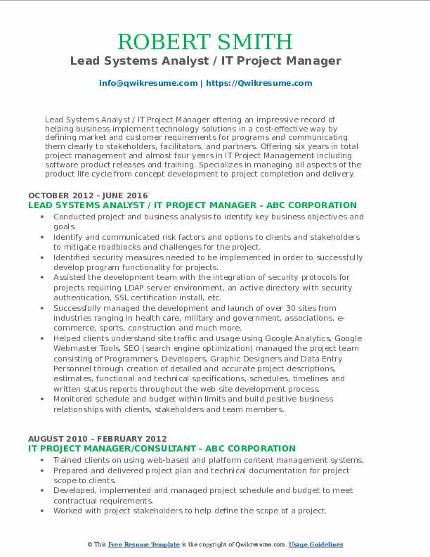 Lead Systems Analyst / IT Project Manager Resume Format