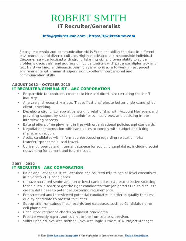 it recruiter resume samples  qwikresume