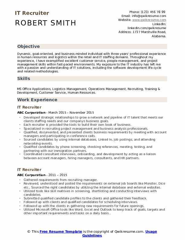 IT Recruiter Resume example