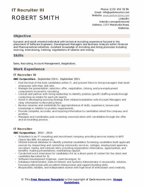 HR Recruitment Specialist Resume Sample