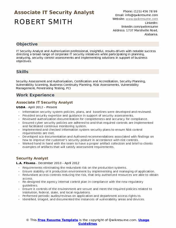 IT Security Analyst Resume Samples | QwikResume