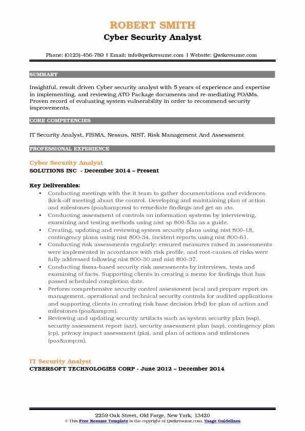 Cyber Security Analyst Resume Sample  Cyber Security Resume