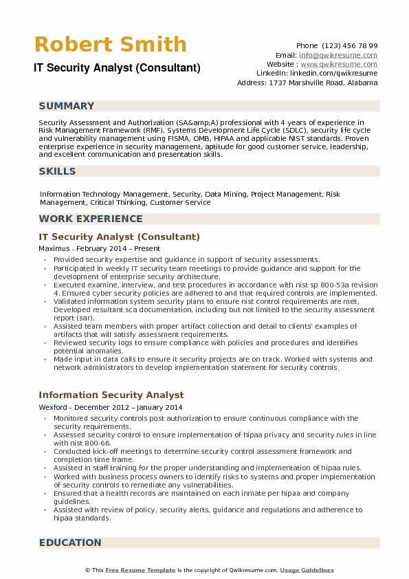 it security analyst consultant resume sample