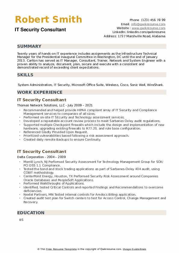 IT Security Consultant Resume example