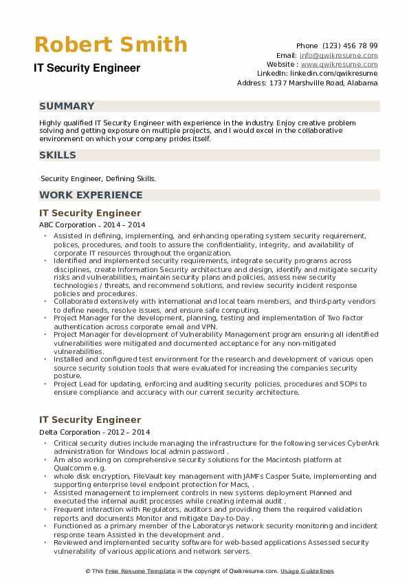 IT Security Engineer Resume example