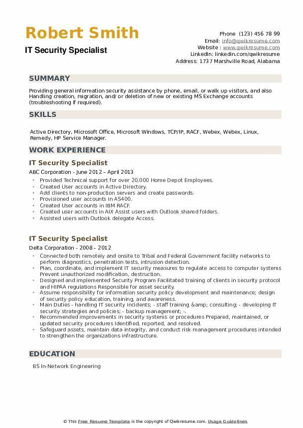 IT Security Specialist Resume example