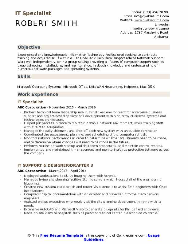 It Specialist Resume Samples Qwikresume