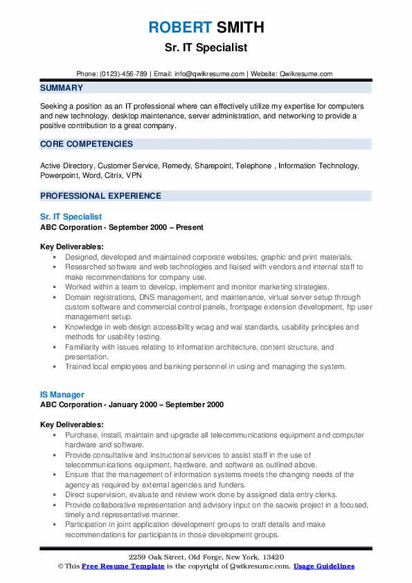 Sr. IT Specialist Resume Model