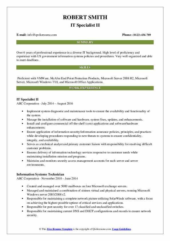IT Specialist II Resume Model