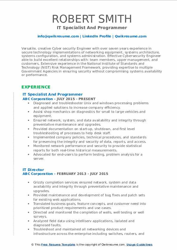 IT Specialist And Programmer Resume Sample