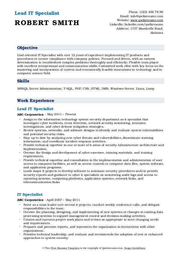Lead IT Specialist Resume Example