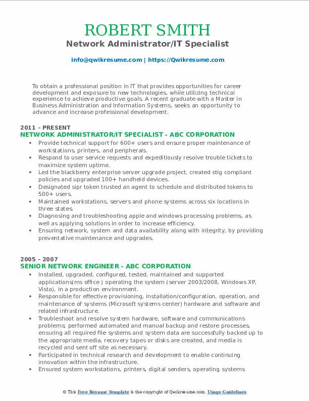 Network Administrator/IT Specialist Resume Format