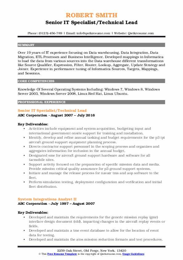Senior IT Specialist/Technical Lead Resume Template