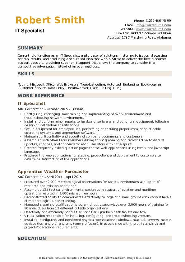 it specialist resume samples