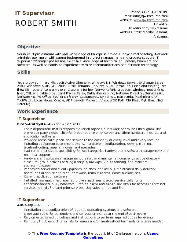 it supervisor resume samples