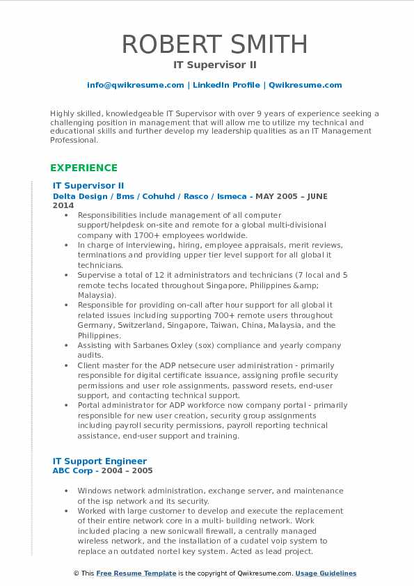 IT Supervisor II Resume Model