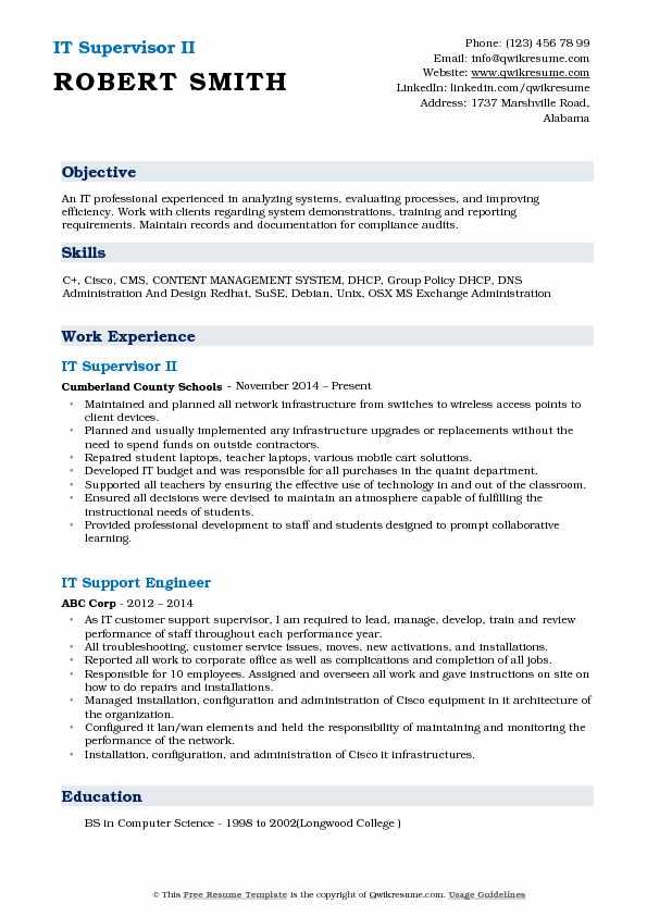 IT Supervisor II Resume Template
