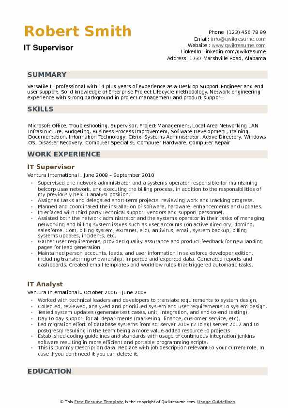 IT Supervisor Resume Samples | QwikResume