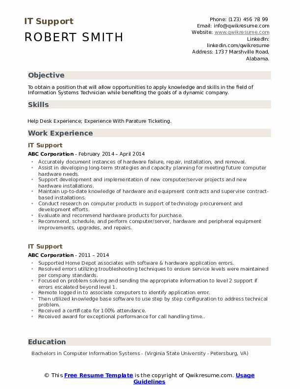 IT Support Resume Format