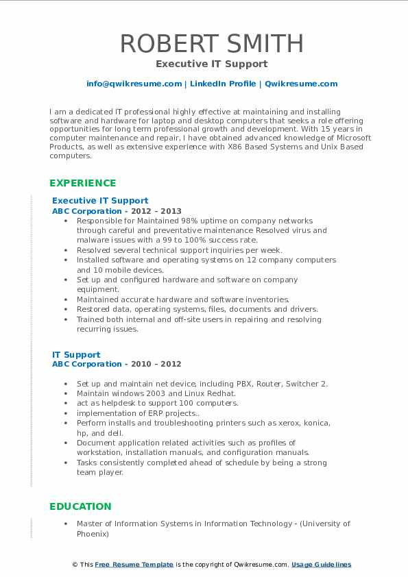 Executive IT Support Resume Sample