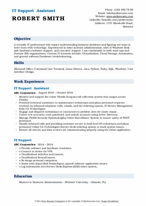 IT Support Resume Samples | QwikResume
