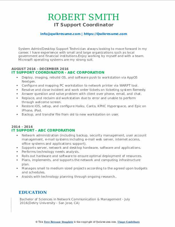 IT Support Coordinator Resume Sample