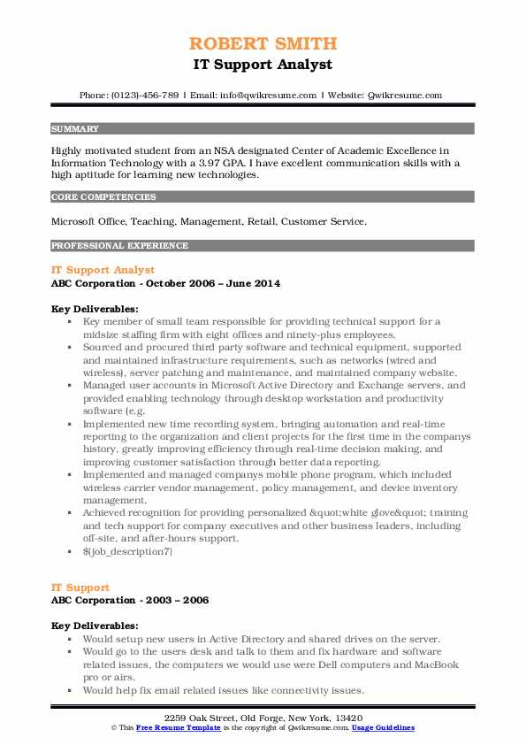 IT Support Analyst Resume Template