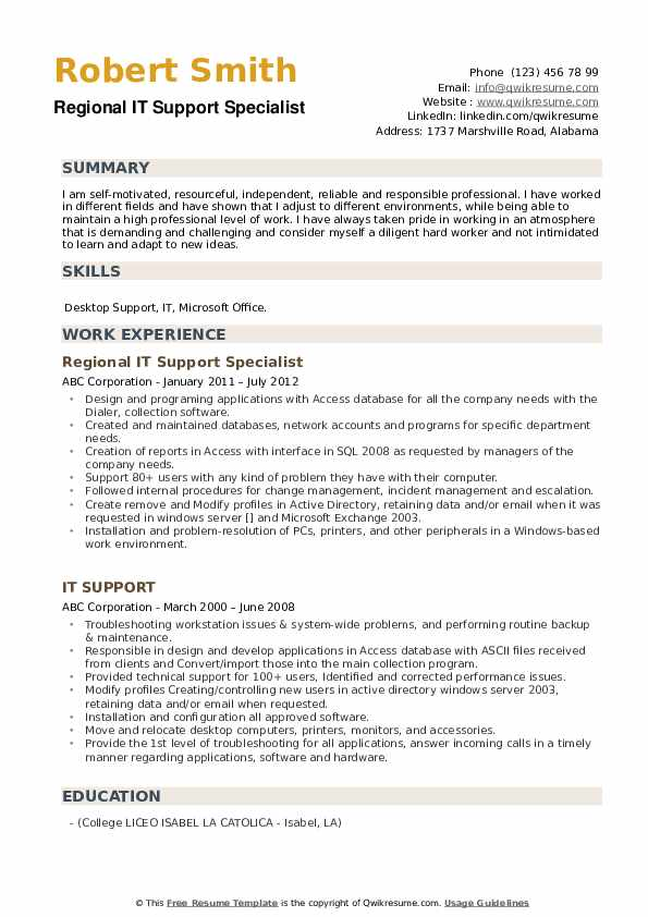 Regional IT Support Specialist Resume Template