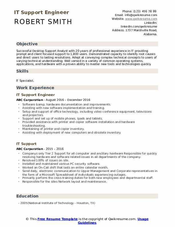 IT Support Engineer  Resume Format