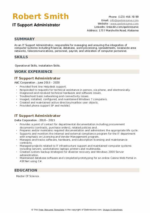 IT Support Administrator Resume example