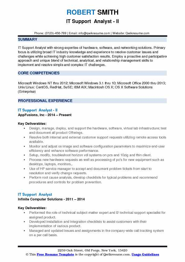 IT Support  Analyst - II Resume Sample