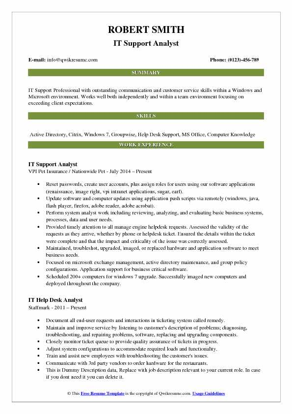 IT Support Analyst Resume