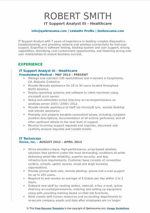 IT Support Analyst III - Healthcare Resume Template