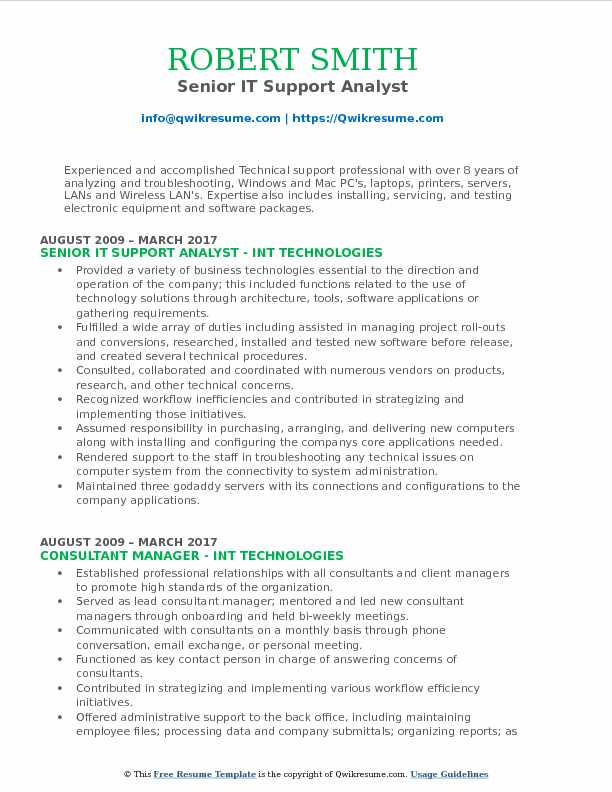 Senior IT Support Analyst Resume Model