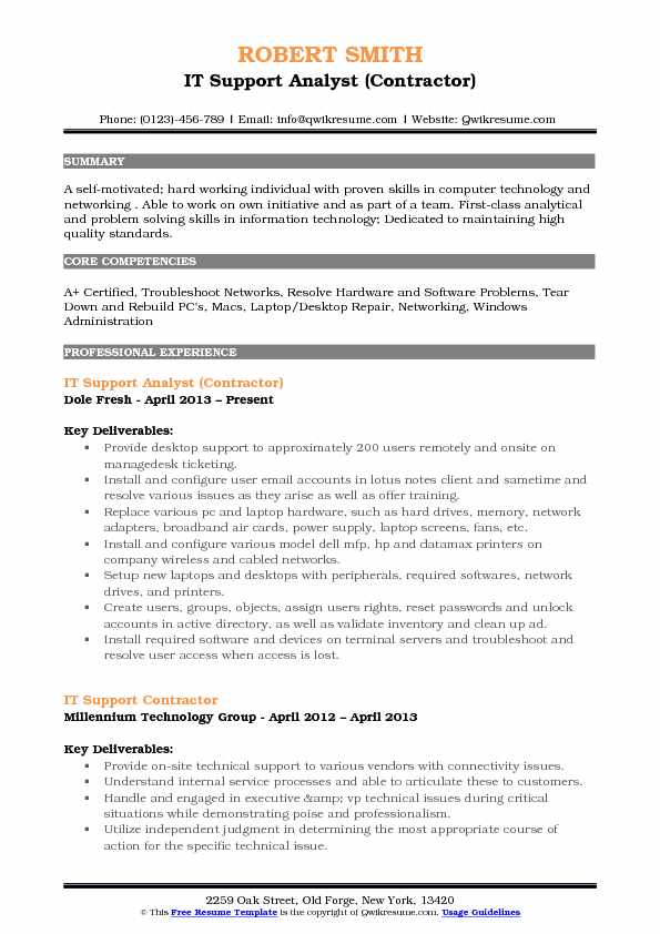 IT Support Analyst (Contractor) Resume Template
