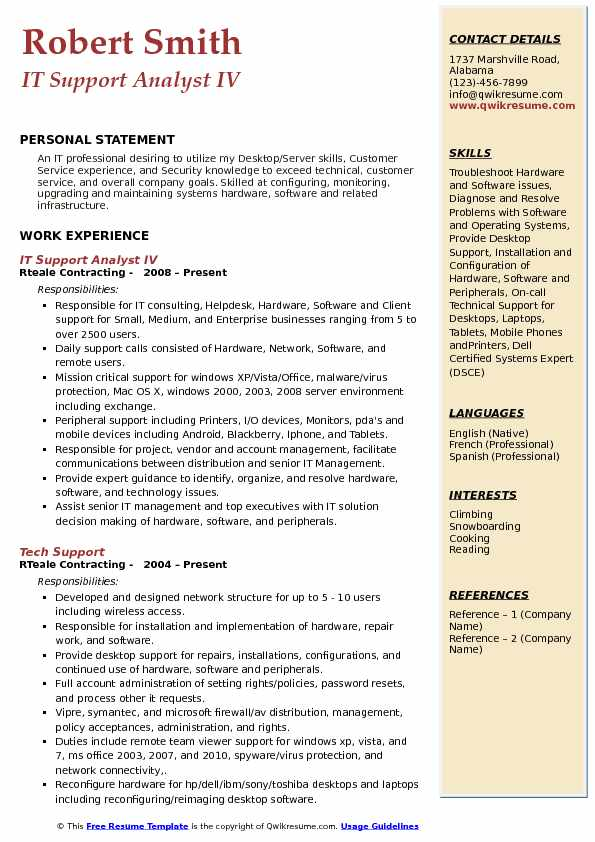 IT Support Analyst IV Resume Format