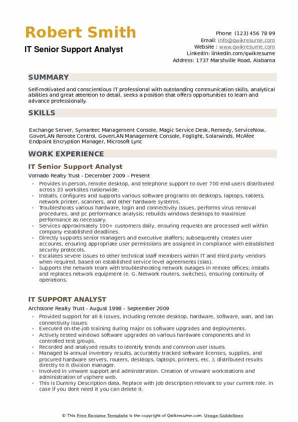 IT Support Analyst Resume Samples | QwikResume