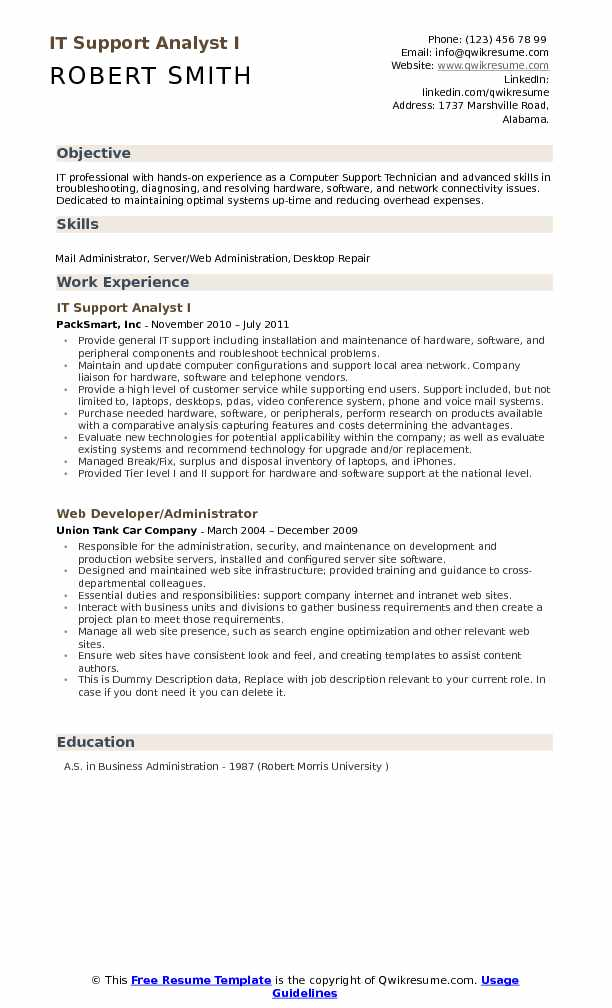 IT Support Analyst I Resume Format