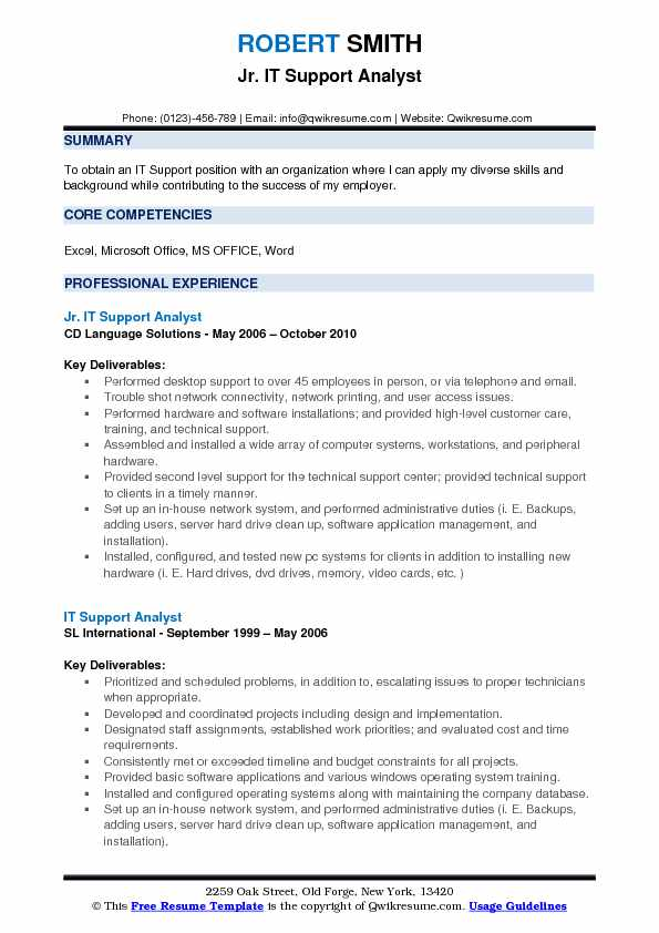 it support analyst resume example - It Support Resume